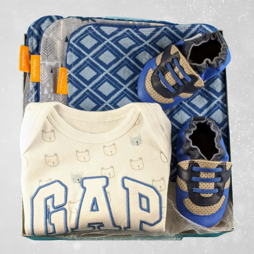 Blue Baby Boy Gift with Shoes