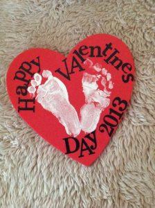 Baby footprint heart craft