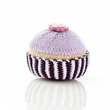 Lilac cupcake baby rattle