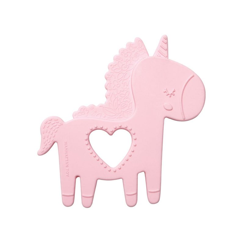 Pink silicone unicorn teether